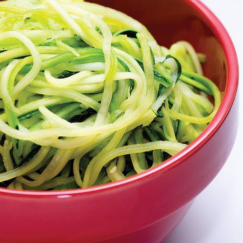 Basic Zucchini Noodles - zucchini, olive oil, salt and ground black pepper