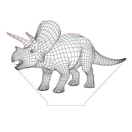 Triceratops 3d Illusion Lamp Plan Vector File For Laser And Cnc 3bee Studio 3d Illusion Lamp 3d Illusions Illusions
