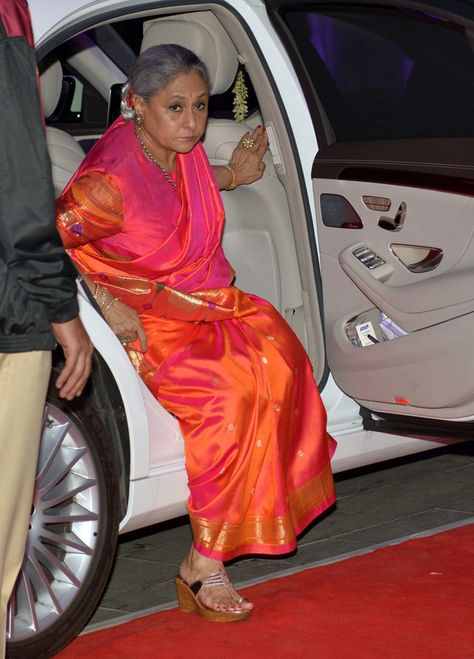 Jaya Bachan arriving at a bollywood wedding reception