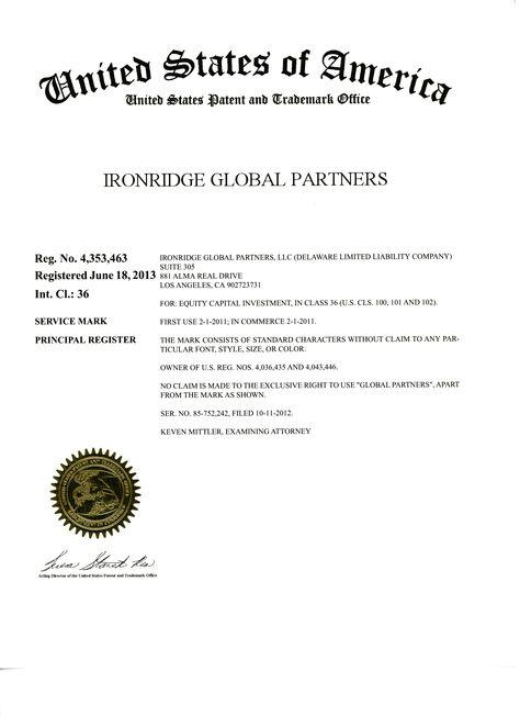 US trademark registration certificate for Ironridge Global - trademark attorney resume
