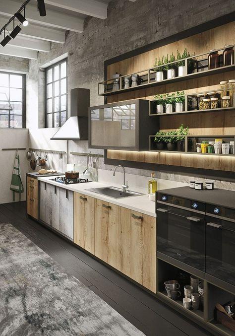 Legno vissuto, metallo e vetro per la cucina Loft Il nuovo ...