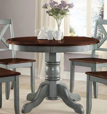 Farmhouse Dining Table Round French Country Kitchen Rustic Dinning Blue Green Kitchen Table Makeover Painted Kitchen Tables Dining Room Table