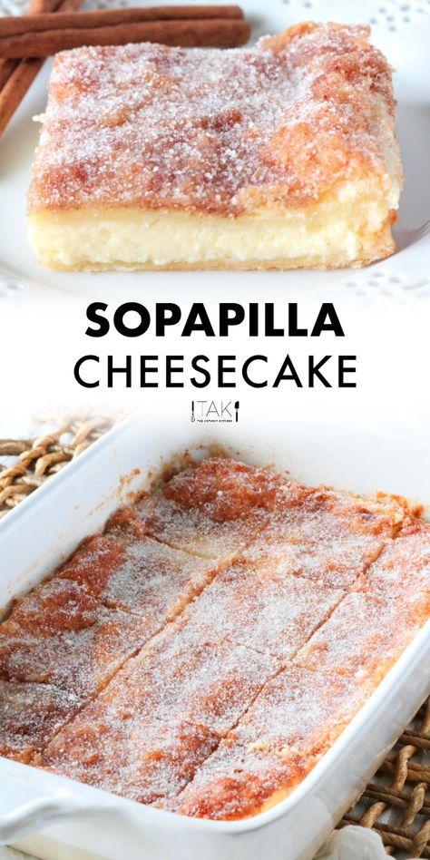 Surpass all dessert expectations with this easy Sopapilla Cheesecake Bar recipe! These layered cheesecake bars are the absolute best and can easily be whipped up assembled and baked with just a few simple steps! Smores Dessert, Diy Dessert, Easy Dessert Bars, Mexican Dessert Recipes, Best Dessert Recipes, Sweet Recipes, Best Desserts, Bar Recipes, Recipes Dinner