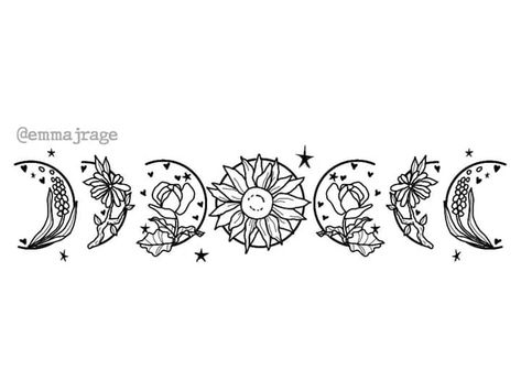 """Moon phases, but with flowers"" by Emma Rage : WitchesVsPatriarchy Flower Tattoos, Small Tattoos, Cool Tattoos, Tatoos, Tattoo Femeninos, Piercing Tattoo, Moon Phases Drawing, Moon Phases Art, Piercings"