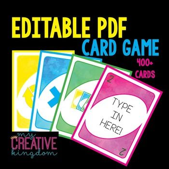 Editable Pdf Wild Card Game With Images Card Games Card Games