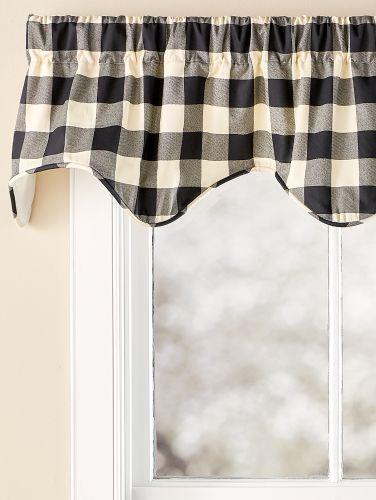 Buffalo Check Rod Pocket Double Scalloped Valance But In Yellow Check Buffalo Plaid Curtains Valance Buffalo Check Curtains