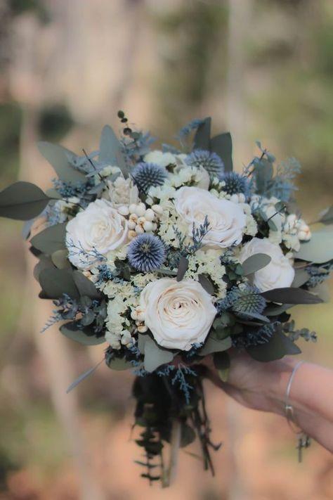 Dusty blue bridal bouquet #wedding #weddings #weddingflower #weddingbouquet #bridalbouquet #bridebouquet #bridalbouquets