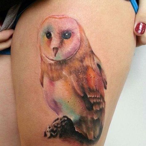 Watercolor tattoo — owl