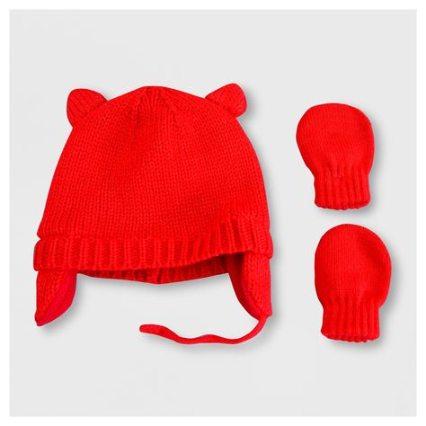 Baby Girls  Hat and Mitten Set - Cat   Jack Red Newborn in 2018 ... 577e6c231d0
