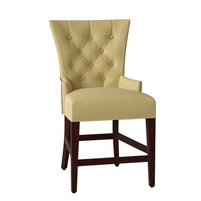 Hekman Sonya 24 5 Bar Stool Body Fabric 4001 091 Leg Color French Roast Nailhead Detail Brass Metal Footrest Protector Brushed Antique Brass In 2020 Bar Stools Foot Rest Swivel Bar Stools