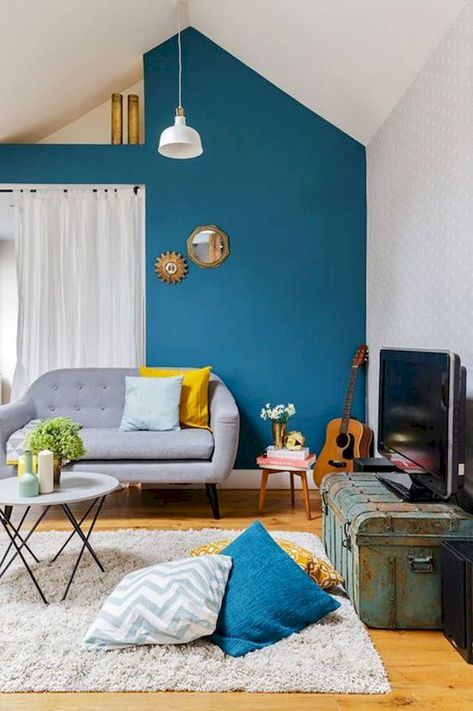 Amazing Interiors Schemes in Blue and Yellow Decorations | Elonahome.com
