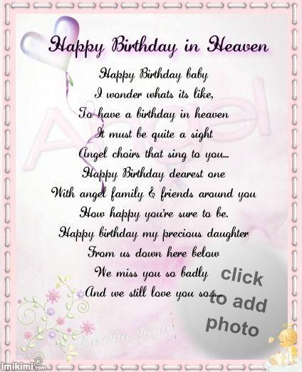 Happy Birthday Baby Girl Poem Birthday In Heaven Happy Birthday