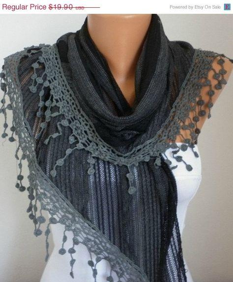 Lace Scarf   scarf shawl  Sale scarf   Free scarf  Dark by anils, $17.91