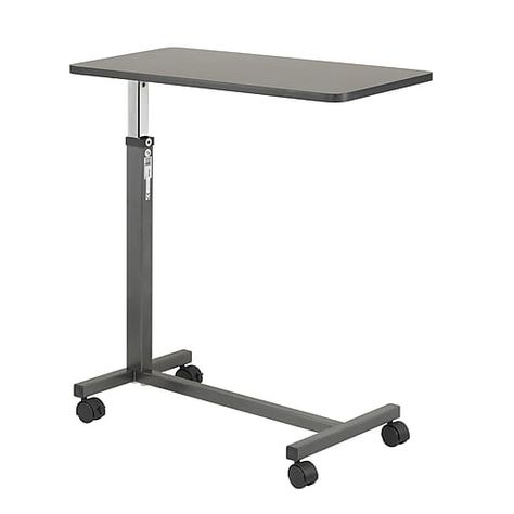 Drive Medical Non Tilt Top Overbed Table Silver Vein Table Pour