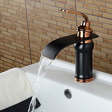 Art Deco Retro Widespread Waterfall Ceramic Valve Single Handle One Hole Oil Rubbed Bronze Bath Sink Faucets Bathroom Sink Faucets Bronze Bronze Bathroom Sink