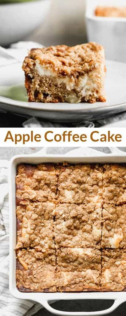 A delicious cinnamon Apple Coffee Cake with a surprise layer of cream cheese filling, and a simple streusel crumb topping. #coffeecake #applecoffeecake via @betrfromscratch
