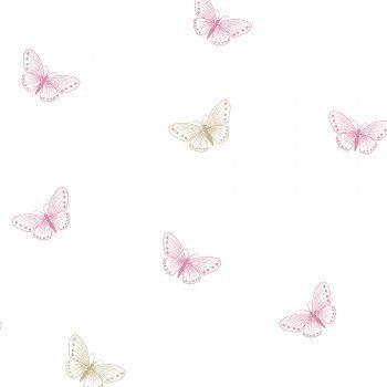 Designer Selection Flutter Butterfly Wallpaper White Pink Gold