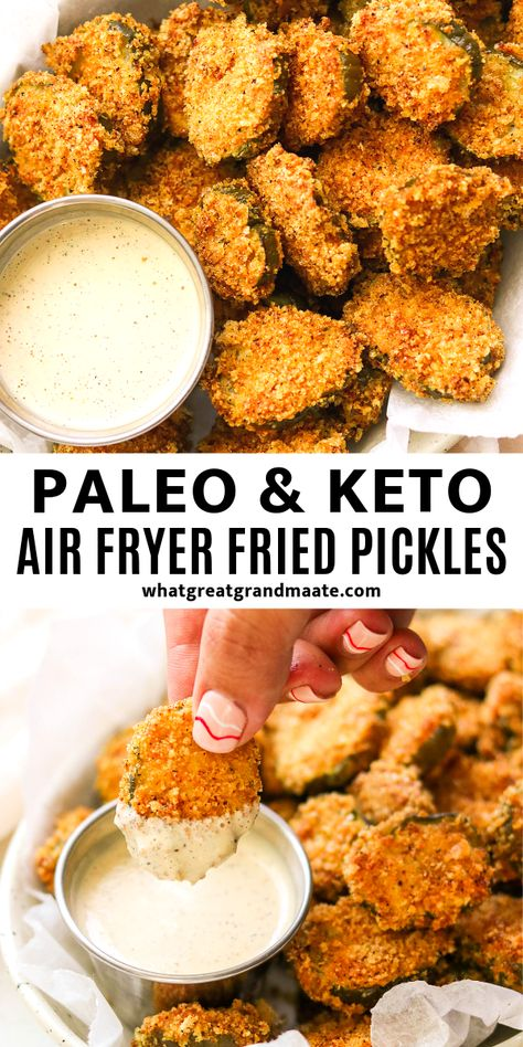 These low carb and keto air fryer fried pickles are breaded with crushed pork rinds, and so crunchy and addicting! They are way easier to& The post Keto Air Fryer Fried Pickles (Paleo, appeared first on Ana Jeffrey Workouts. Air Fryer Recipes Keto, Diet Recipes, Recipes Dinner, Paleo Keto Recipes, Paleo Food, Paleo Snack Recipes, Cooker Recipes, Yummy Healthy Recipes, Air Fryer Recipes Pickles