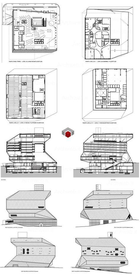 Armadio A Muro Dwg.Rem Koolhaas Seattle Library Dwg 2d Rem Koolhaas Seattle E