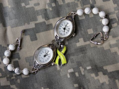 """Artbeads.com Jewelry Design Star Winner Kitty Hommer - Deployment Bracelet - """"The Deployment Watch came about because I would wonder what time it was in Iraq and could never keep the time zones straight between here and there. It helped if knew it was dinner time there I could at least imagine that he was having dinner."""""""