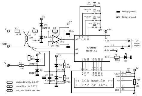 Arduino Wattmeter Circuit Arduino Arduino Projects Electronic Schematics