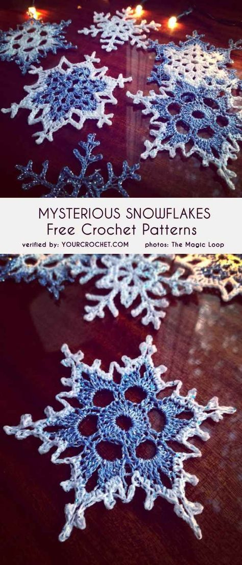 (Mysterious) Snowflakes Free Crochet Patterns With this marvelous design, you can almost feel the mystery of Christmas Eve. In this pattern you will find 3 different beautiful snowflake projects to fo Crochet Stars, Crochet Snowflakes, Thread Crochet, Crochet Crafts, Crochet Projects, Crochet Angels, Crochet Stitches, Crochet Flower Patterns, Crochet Motif