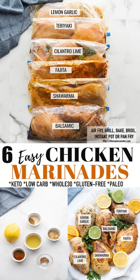 These Easy Chicken Marinade Recipes made 6 ways are a delicious + healthy way to switch up your same old boring chicken dinner! Perfectly cooked chicken breasts full of Lemon Garlic, Teriyaki, Cilantro Lime, Shawarma, Fajita or Balsamic flavor! All recipes are gluten-free, keto, low carb, paleo + Whole30! Includes instructions to cook chicken in the air fryer, grill, oven baked, broiled, instant pot + pan fried on the stove. Freezer friendly + perfect for meal prep! #keto #chicken #marinade