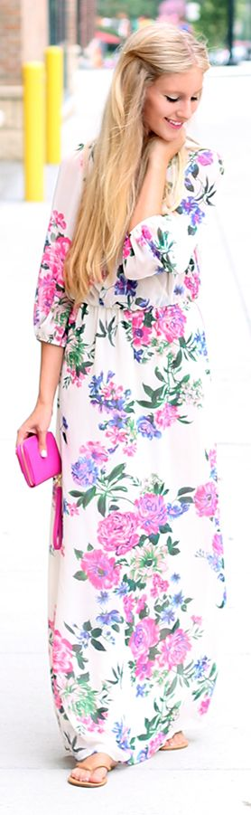 Windsor White Multi Floral 3/4 Sleeve Maxi Dress