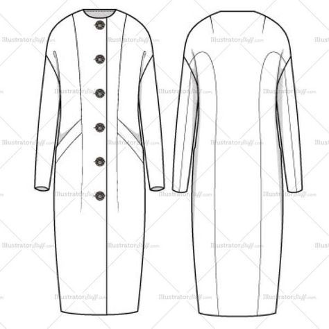 Long sleeve full length Cocoon Coat with novelty buttons. Crew neck with a modern fit. Novelty buttons can be edited to the buyer's desire because it's not a flat image. Sketch is filled for easy transition to drop in color, pattern or fill.