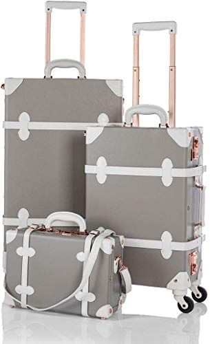 Unitravel 2 Piece Vintage Luggage Sets TSA Approved Carry On Suitcase with 12inch Train Case for Women Grey