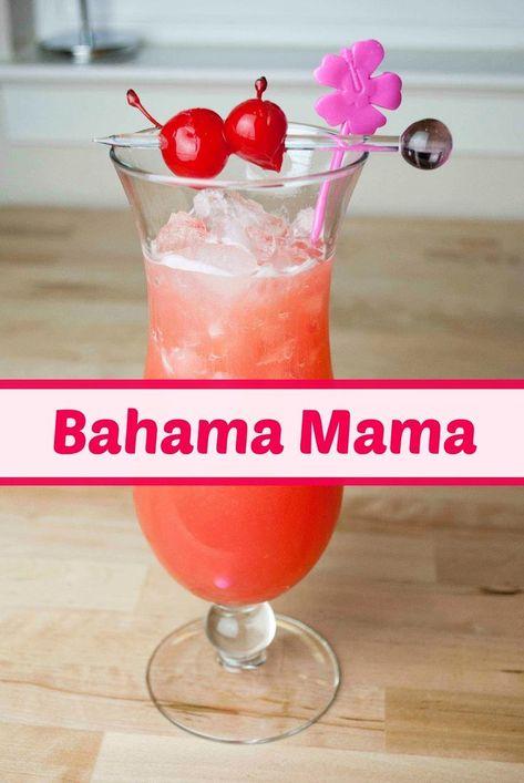 bahama mama cocktail, coconut rum, malibu rum, banana liqueur, spiced rum, orange juice, pineapple juice