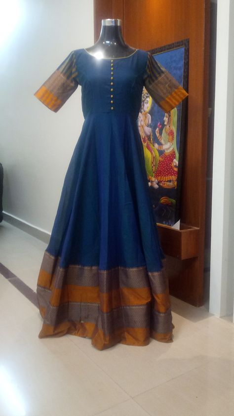 524f4663e917f Narayanpet long frock in blue and mustard with big borders Can be  customized To order WhatsApp: 9959021569  Email-swaradesignerboutique@gmail.com