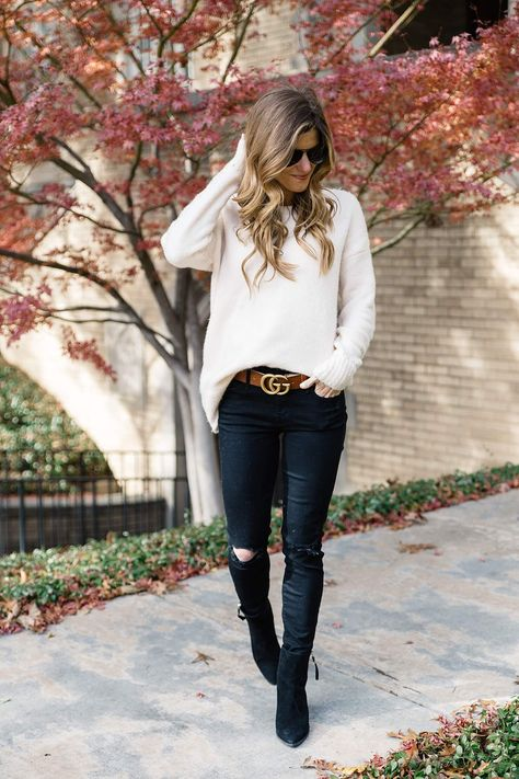 Trend to Try: The Statement Belt - Black Belt - Ideas of Black Belt - statement belt trend to try gucci brown logo belt black jeans and black booties brown belt with black jeans oversized sweater with skinny jeans casual fall outfit