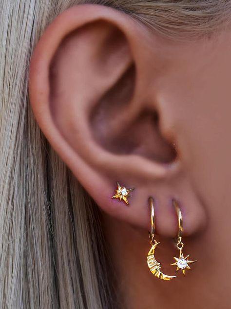 Ear Cuff Silver Ear Cuff Gold Ear Cuff Ear Cuff No Piercing Ear Wrap Minimalist Ear Cuff Ear Cuff Non Pierced Pair - Custom Jewelry Ideas Moon And Star Earrings, Moon Earrings, Crystal Earrings, Etsy Earrings, Silver Earrings, Diamond Earrings, Butterfly Earrings, Silver Ear Cuff, Cartilage Earrings