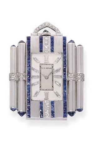 Art Deco gem-set pendant watch, by C H. Meylan.    The rectangular silvered dial with diamond baton makers to the French-cut sapphire and diamond lines flanked by cylindrical columns with rose-cut sapphire terminals, lever movement, circa 1920, 5.4 cm. high Dial and movement signed C. H. Meylan