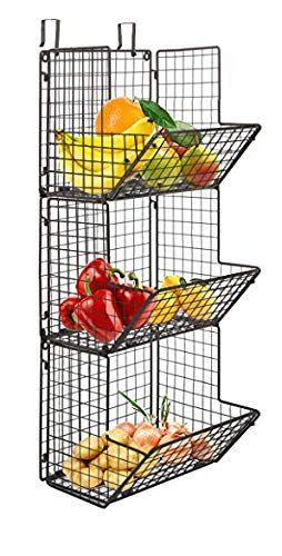 Hanging Fruit Basket Rustic Shelves Metal Wire 3 Tier Wall Mounted Over The Door Organizer Kitc Hanging Fruit Baskets Fruit Platter Ideas Wedding Produce Bin