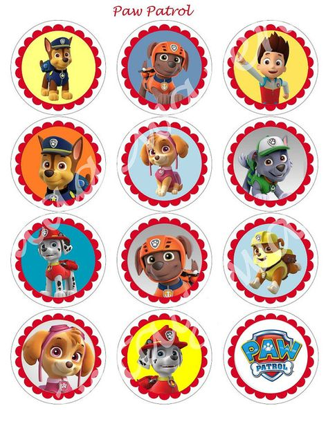 PAW PATROL Craft Circles - Dog and Puppy Instant Download Printable Cupcake Toppers ---- for 63mm round stickers