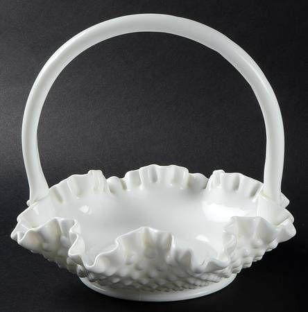 Fenton Hobnail Milk Glass 7 Handled Basket Hobnail Milk Glass Milk Glass Decor Milk Glass
