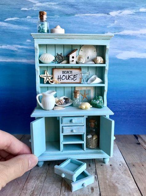 Miniature Dollhouse FAIRY GARDEN ~ Mini LAKE Fish Fishing SEA Post w// Anchor