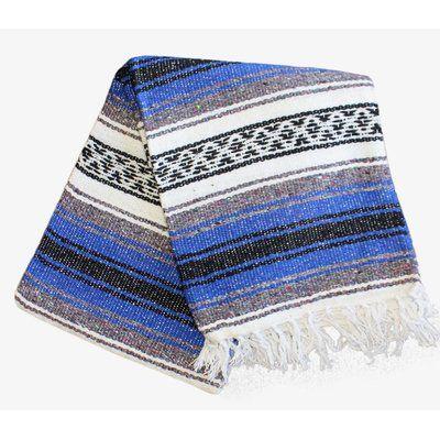 Bloomsbury Market Criddle Blanket Color Blue Cotton Throw Blanket Blanket Fleece Throw Blanket