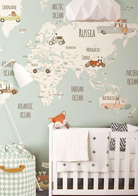 The best wallpaper ideas for baby's nursery. Map of worls wallpaper for baby nursery. Baby boy room decor ideas.
