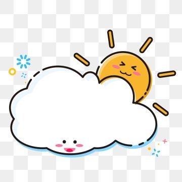 Cartoon Cute Mbe Style Clouds With Sun Border Elements Png And Psd Cartoon Sun Love Png Cartoon