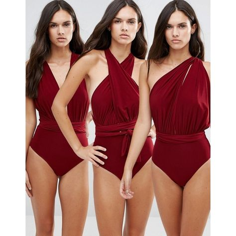 Goddiva Multiway Swimsuit (135 BRL) ❤ liked on Polyvore featuring swimwear, one-piece swimsuits, red, one piece swimsuit, one shoulder swimsuit, bandeau one piece swimsuit, bandeau swimsuit and red bathing suits