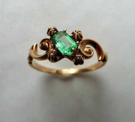 Beautiful Victorian Antique Emerald and Seed Pearl Ring 14K. $295.00, via Etsy.