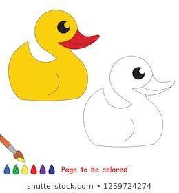 Bath Yellow Duck To Be Colored The Coloring Book For Preschool