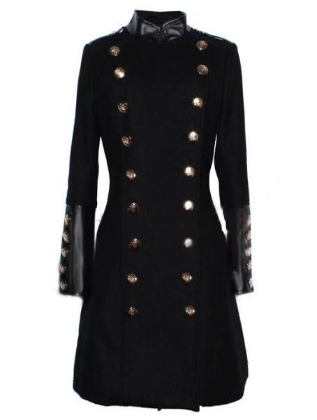 Black Long Sleeve Contrast Leather Buttons Coat