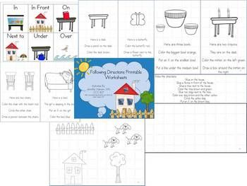 Following Directions And Spatial Concepts Printable Worksheets Spatial Concepts Following Directions Speech And Language