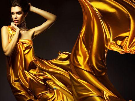 Girl in golden color dress