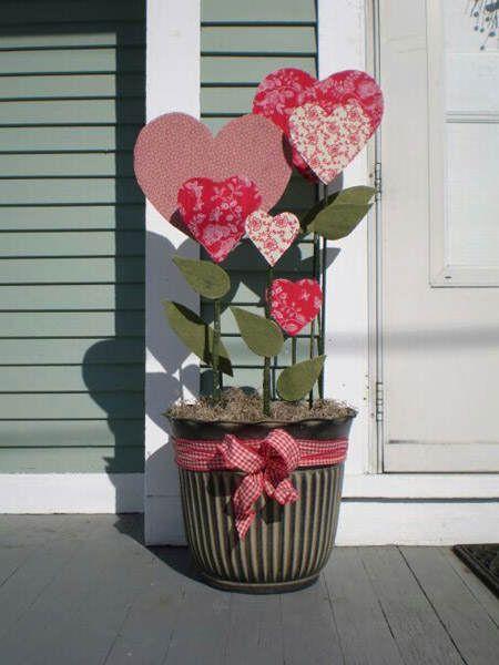 Maceta de flores artificiales con forma de corazón #SanValentin