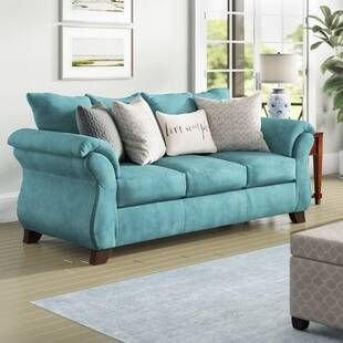 Winston Porter Saltzman Sofa Wayfair Living Room Turquoise Teal Living Rooms Turquoise Living Room Decor